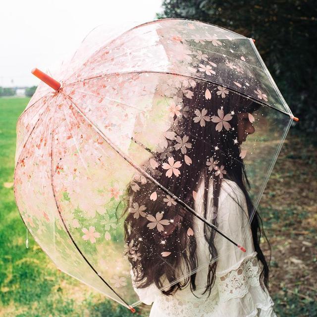 Модные, прозрачные женские длинная ручка с зонтиком 60 см Сакура гриб принцесса Романтический зонтик