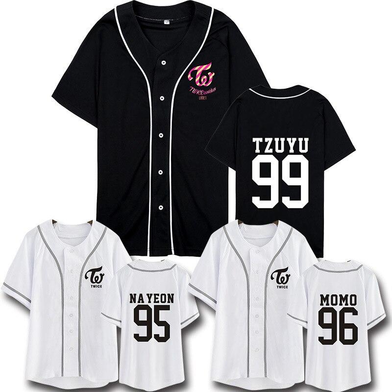 Duas vezes twicecoaster lane1 camiseta mesmo parágrafo camisa de beisebol feminino manga curta dropshipping