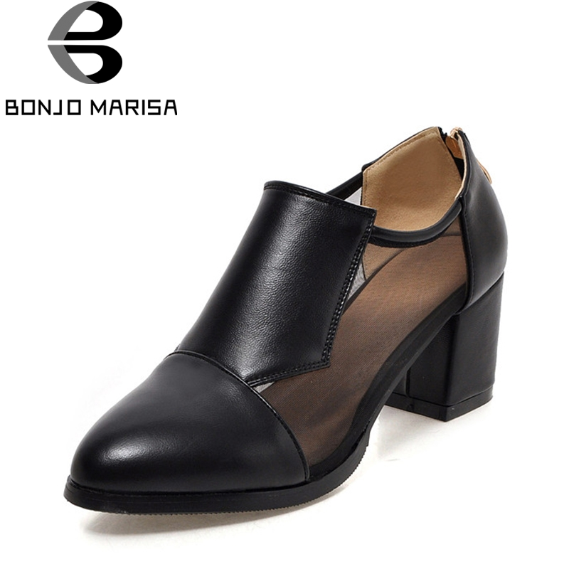 BONJOMARISA 2018 Spring Autumn New Elegant Large Size 34-43 Pumps Zip High Quality Cool Mesh Black High Square Heel Women Shoes alfani new black women s size small s mesh back high low ribbed blouse $59 259