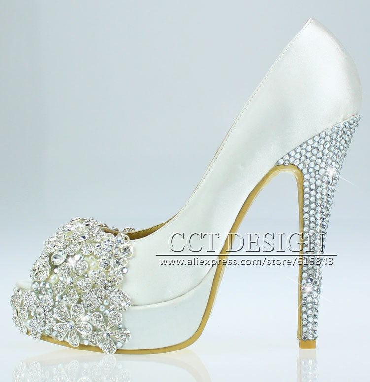 Free Shipping Brand Peep Toe Lace Satin White Rhinestone Wedding Shoes  Bridesmaid Crystal High Heels Shoes In Womenu0027s Pumps From Shoes On  Aliexpress.com ...