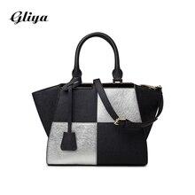 Gliya 2016 Summer Handbag Women Black And White Hobo Bag Female Top-Handle Bag Metal Decoration Strap Women Shoulder Bag G15258