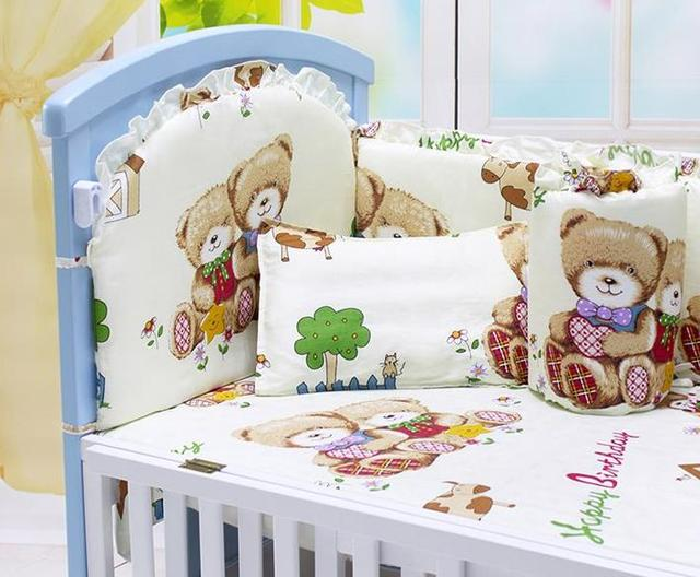 7Pcs/Sets Cotton Baby Bedding Sets Cartoon Bear Pattern Baby Bed Bumper Quilt Pillow Case Crib Bedding