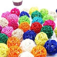 6PCS 5CM 14Colors Rattan Ball Ornaments Sepak Takraw Home Christmas/Birthday Wedding Party Decorations Kids Toys Wooden Balls