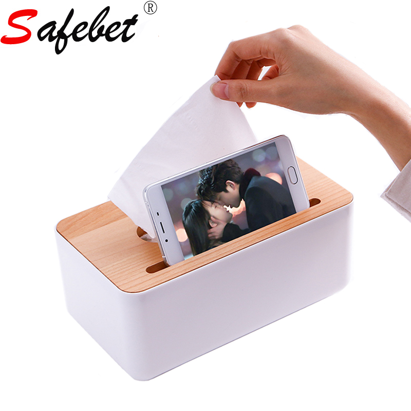 Plastic Square Mobile Phone Slot Storage Wet Tissue Box Baby Wipes Box Tissue Container Living Room Table Paper Napkin Solder