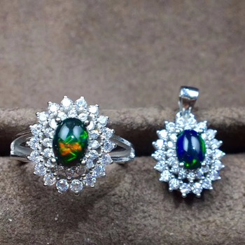 Shopkeepers recommen Natural Black Opal Suit, Ring Necklace Ear Nails,  Wonderful Starlight Patterns, 925 Silver
