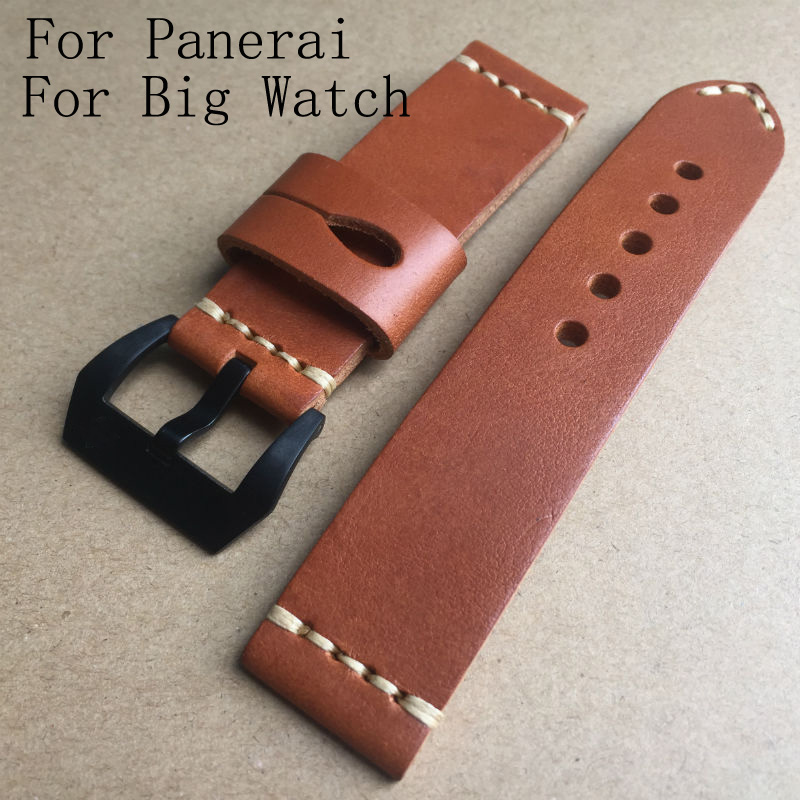 Handmade Calfskin Leather Brown 22mm 24mm Watch Strap Belt, AAA Luxury Retro Leather Watchband For Pam And Big Watch  22mm 24mm 26mm frosted dark blue retro soft mate genuine leather watchband watch strap for pam and big watch free shiping