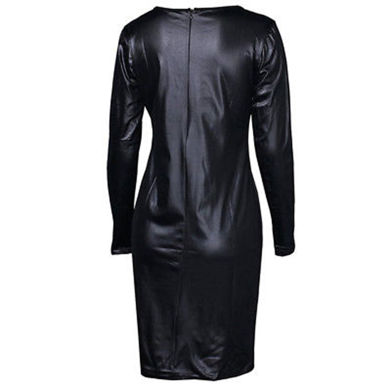 2018 Summer Sexy Women PU Leather Dress Long Sleeve Bodycon Midi Office Dress Black Sexy Club Pencil Party Dresses Vestidos XXL