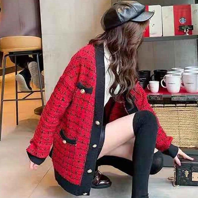 Colorblock noir Taille Tricot Style rouge Nouvelle Tricotée En Joker Plaid Photo Femmes automne De Color 2019 Universitaire Cardigan Lâche Grande Printemps Veste vqwIa4xRC