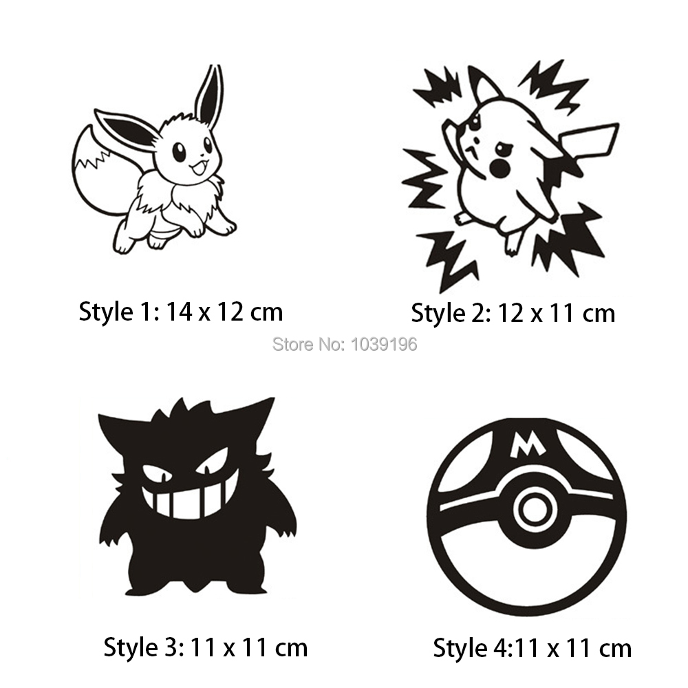 New Styling Lovely Cartoon Animal Pikachu Pokemon Ball Creative Reflective Car Whole Body Trunk Stickers Decal Waterproof Vinyl