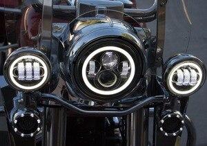 """Image 5 - Motorrad 7 zoll Moto LED Scheinwerfer für Harley bike mit 4 1/2 """"4.5"""" LED Vorbei Lampen Nebel lichter & 7 """"Halterung Montage Ring"""