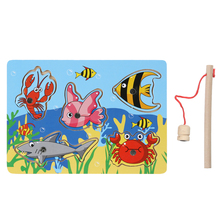 Baby Kid Wooden Magnetic Fishing Game 3D Jigsaw Puzzle Toy Interesting Baby Children Educational Puzzles Toy