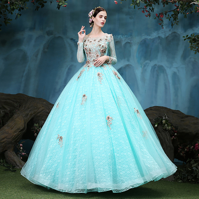 100%real light green lace embroidery flower coffee golden ball gown ...