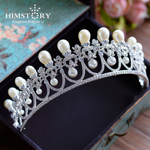 Himstory Gorgeous Simulated Pearls Pendent Crown Bridal Queen Princess Diadem Tiaras Rhinestone Crystal Hair jewelry Accessories