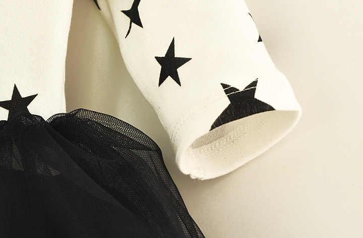 Новое Осеннее Хлопковое платье-пачка для маленьких девочек повседневная одежда для маленьких девочек с бантом и черной звездой подарок на возраст 3, 6, 9 месяцев