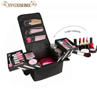 New High Quality Professional Empty Makeup Organize organizer box Cosmetic Case Travel Large Capacity toiletry Bag Suitcases