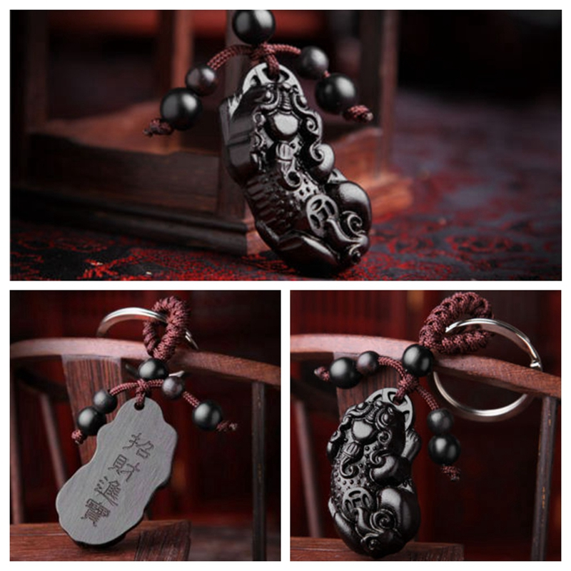 1PC Ebony Wood Carving Chinese Pixiu Piao Dog Statue Sculpture Pendant Key Chain Vintage Key Ring ZXY9517 image