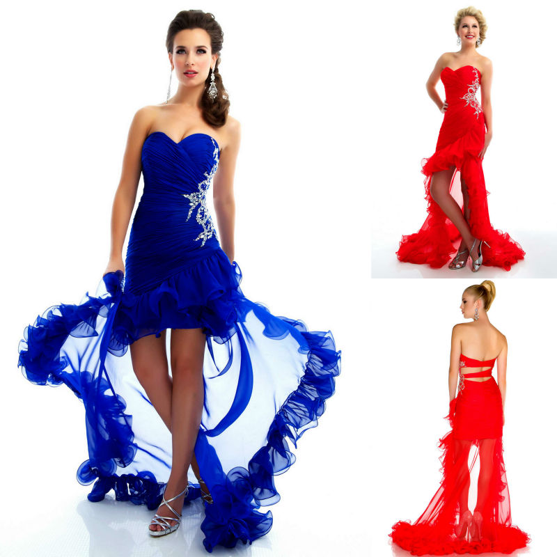 2013 High Low Hem Red Royal Blue Sweetheart Sequin Beaded Applique ...