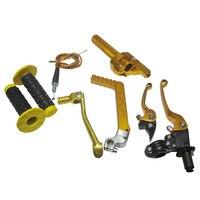 Золотой тормозной рычаг дроссельной заслонки кабельный зажим складной переключатель для 50cc 70cc 110cc мотоцикла