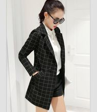long women's blazers plaid suit coat 2017 spring and autumn fashion female blazer Work Wear Jacket
