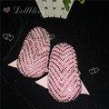 Розовый жемчуг Бисероплетение Стразы Ручной Manoletinas bailarinas пункт Свадьбы лук prewalkers Кристалл Малыш шику цветок девушка обувь