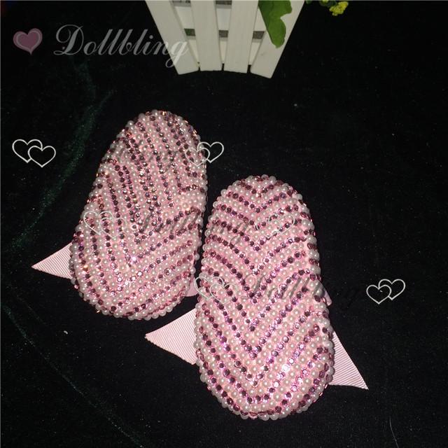 Rosa pérolas Beading Pedrinhas Handmade Manoletinas bailarinas para Bodas arco prewalkers Kid bling do Cristal da menina de flor sapatos