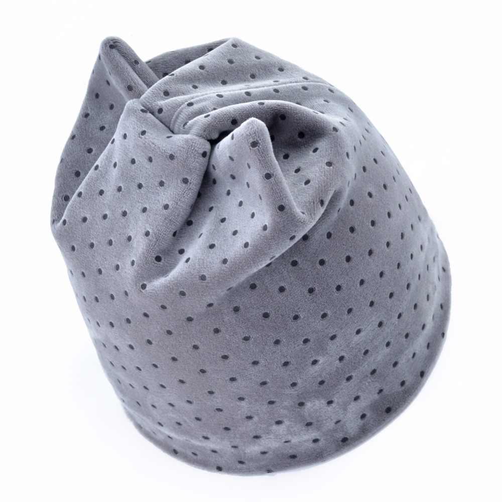 d46e75077fb ... Winter Beanies Women Dots Velvet Hat Autumn Cute Cat Bonnet With Ear  Flaps Girls Warm Double ...