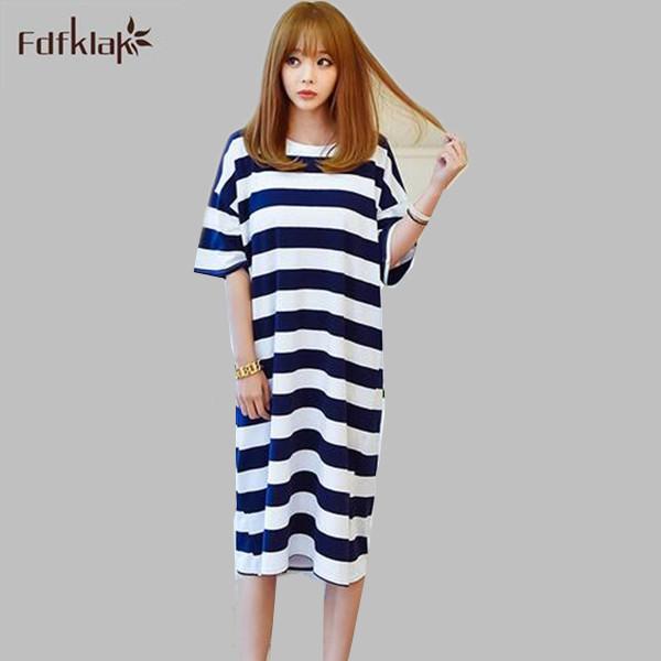 Novo 2017 moda listrada camisolas do sexo feminino casual solta mulheres dormir vestido pijamas sleepshirt verão camisas de noite A381