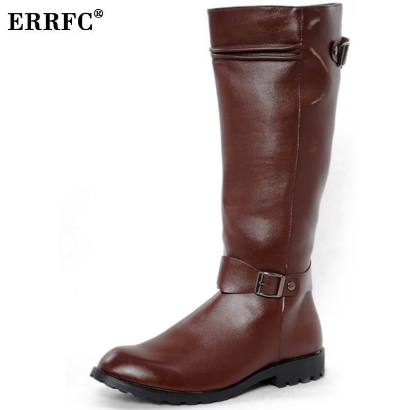 ERRFC New Arrival High Top PU Leather Shoes Men Round Toe Motorcycle Boot Man Buckle Black