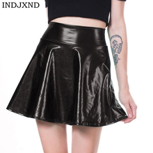 INDJXND Free Shipping New High Waist Faux Leather Skater Flare Skirt Casual Mini Skirt Knee Length Solid Color Black Skirt S-XL black skater skirt with zipper and button design