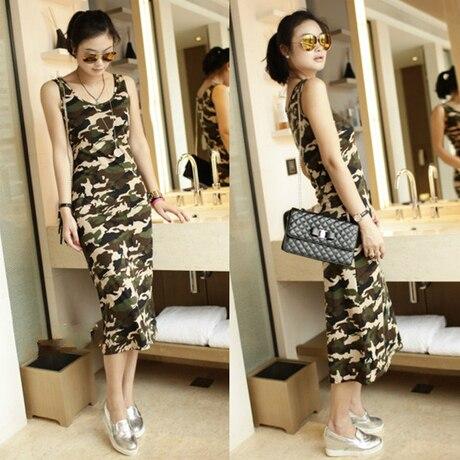 7f6d4c06de2e 2019 New summer sleeveless camouflage print long women tank dress novelty  cotton casual slim beach wear woman tunic army green