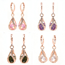 Classic Crystal Water Drop Dangle Earrings For Women Rose Gold Color Statement Earrings Party Jewelry Brincos