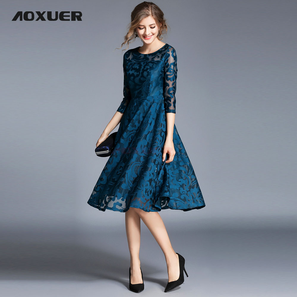 AOXUER Spring Autumn Elegant Party Lace Dress Plus Size Women O neck ...