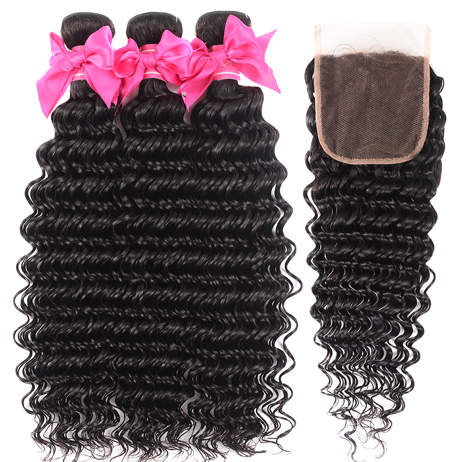 Shuangya Brazilian Deep Wave Bundles With Closure Remy Human Hair Bundles With Closure Middle Part 3