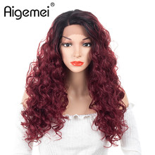 Aigemei Long Kinky Curly Wigs Heat Resistant Synthetic Lace Front Wig For Womens Ladies Girls 20 Inch High Temperature Fiber
