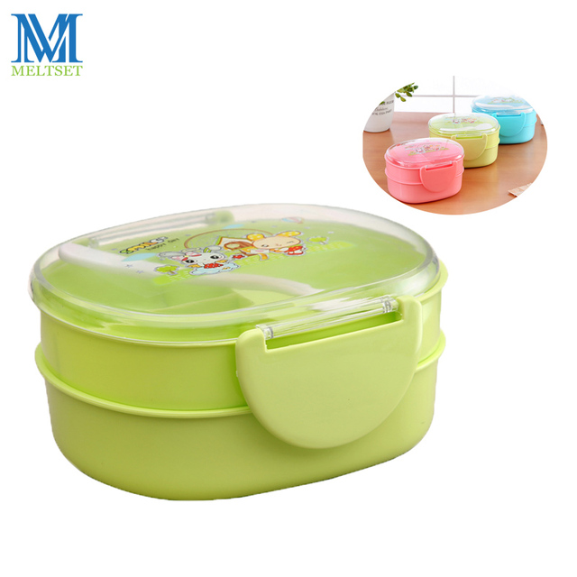 Cartoon School Lunch Box Double Layer Plastic Food Storage Container