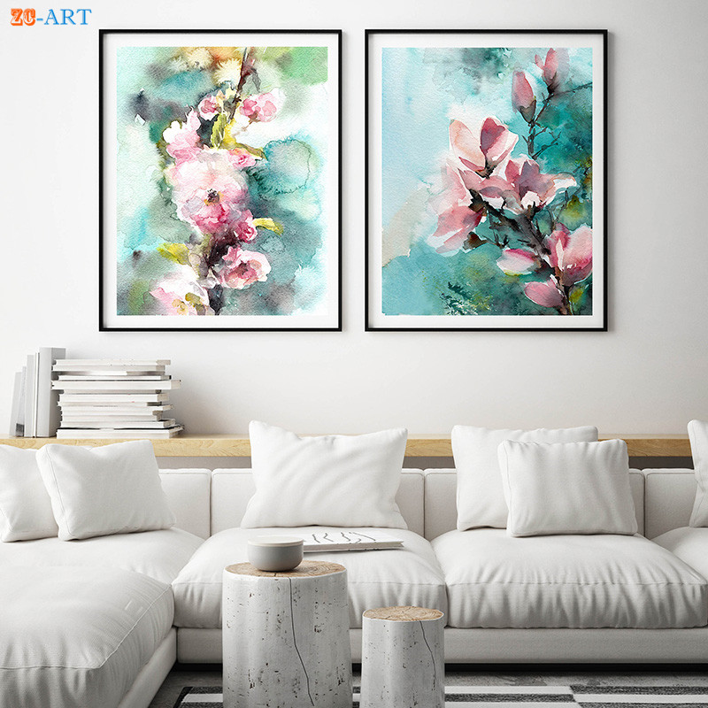 US $2.44 50% OFF|Abstract Pink Flowers Prints Botanical Watercolor Painting  Turquoise Floral Wall Art Canvas Painting Living Room Decor Unframed-in ...