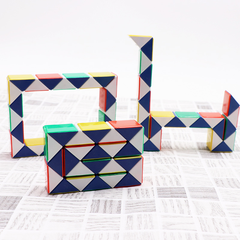 24 Blocks Snake Magic Cube Twist Jigsaw Puzzle Speed Magic Ruler 3d Snake Toys Children Educational Toys Special Christmas Gifts Lustrous