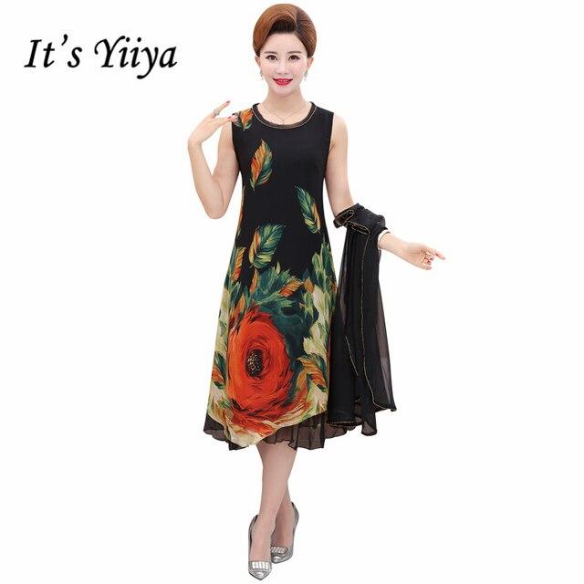 b32452fceb To Yiiya matka panny Młodej Suknie Plus Size Szyfonu O-Neck Kwiat Wzór 2  sztuka
