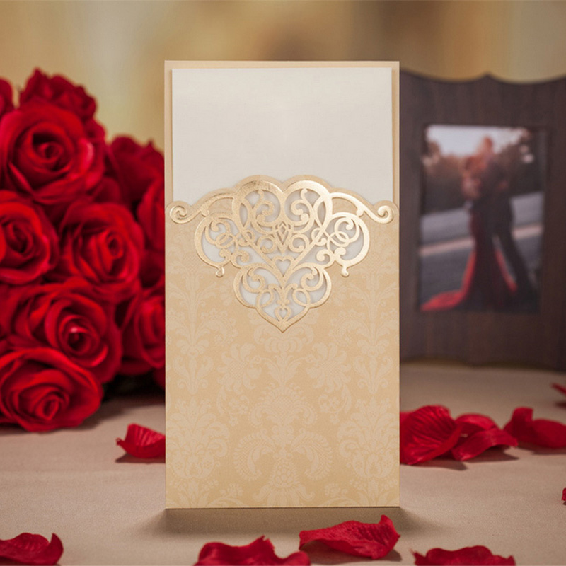 1pcs Sample Hollow Laser Cut Wedding Invitations Card Personalized Custom Printable With Ribbon Baby Shower Party