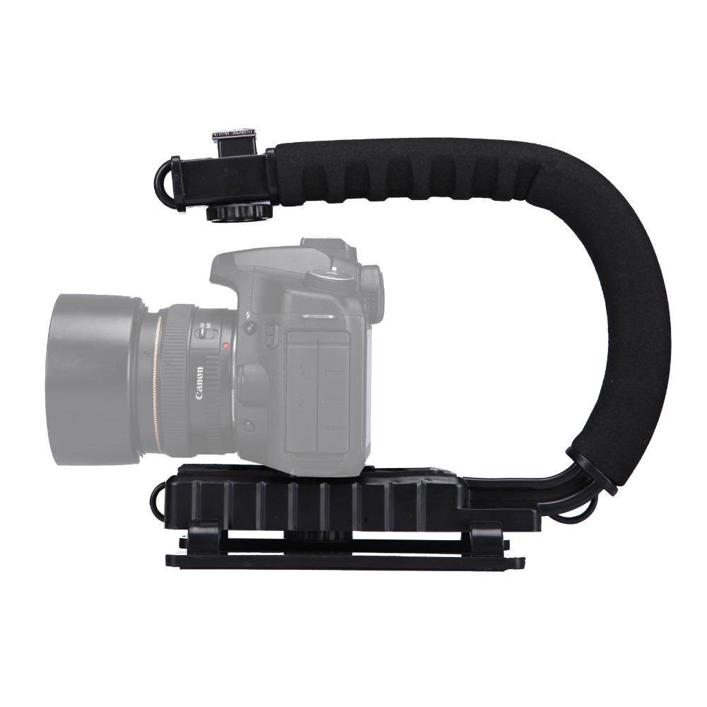 U/C Shaped Bracket Holder 3 Shoe Mounts Handle Handheld Video Action Stabilizer Grip for iPhone Canon Nikon Sony DSLR Camera u grip video action stabilizing handle grip rig set with by mm1 videomicro phone led on camera light for iphone canon nikon