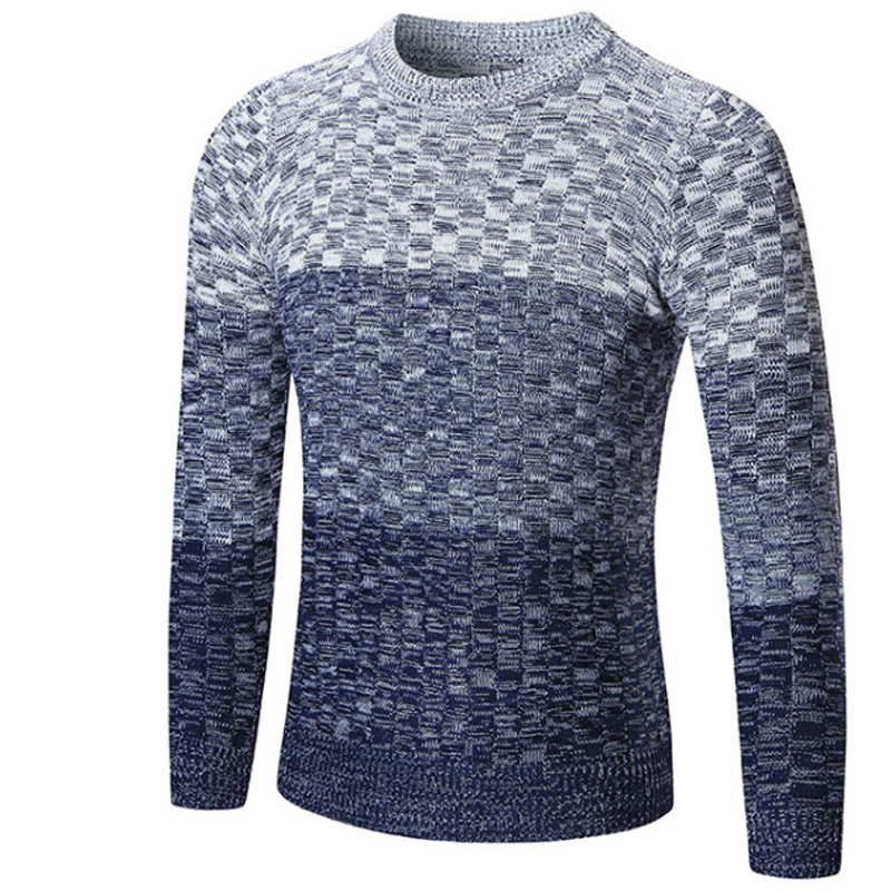Vogue Nice Fashion Clothing Men Gradient Color Sweater Simple O-Neck Slim Fit Casual Pullover Men Sweaters Knitting Mens