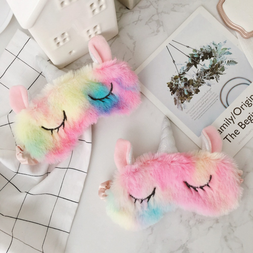 Kawaii Unicorn Eye Mask Cartoon Sleeping Mask Soft Plush Eye Shade Cover Blindfold Eyeshade Suitable For Travel Home Kids Gifts crown plush eye mask