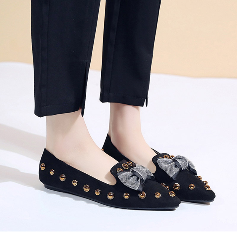 Spring Women Flats Bowtie Slip on Flat Shoes Rivets Boat Shoes Woman Casual Shoes sneaker Ladies Shoes zapatos mujer loafer 7080 11