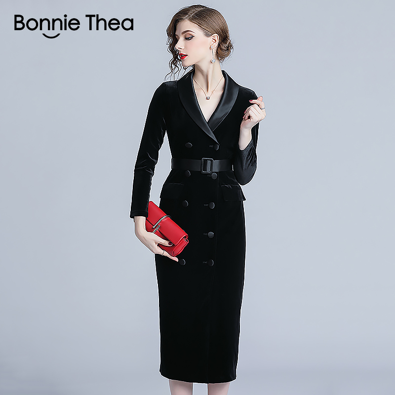 Bonnie Thea velours femmes hiver robe femme noir moulante robe mi-longue vestidos bureau fête dames robes femmes vêtements 2018