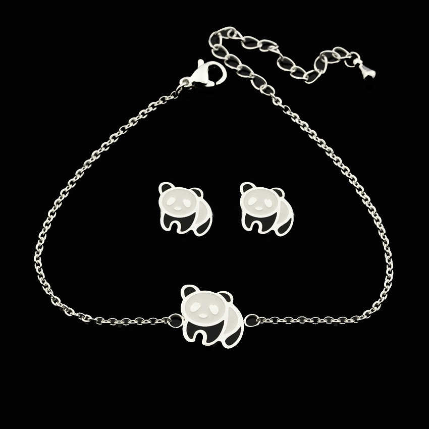 Personalized Charm Panda Bracelet Bangle Women Fashion Jewelry Set Cute Animal Bear Earrings Studs Kids Birthday Best Gift