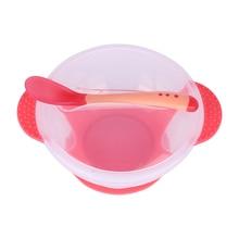 Baby Tableware Dinnerware Suction Bowl with Temperature Sensing Spoon