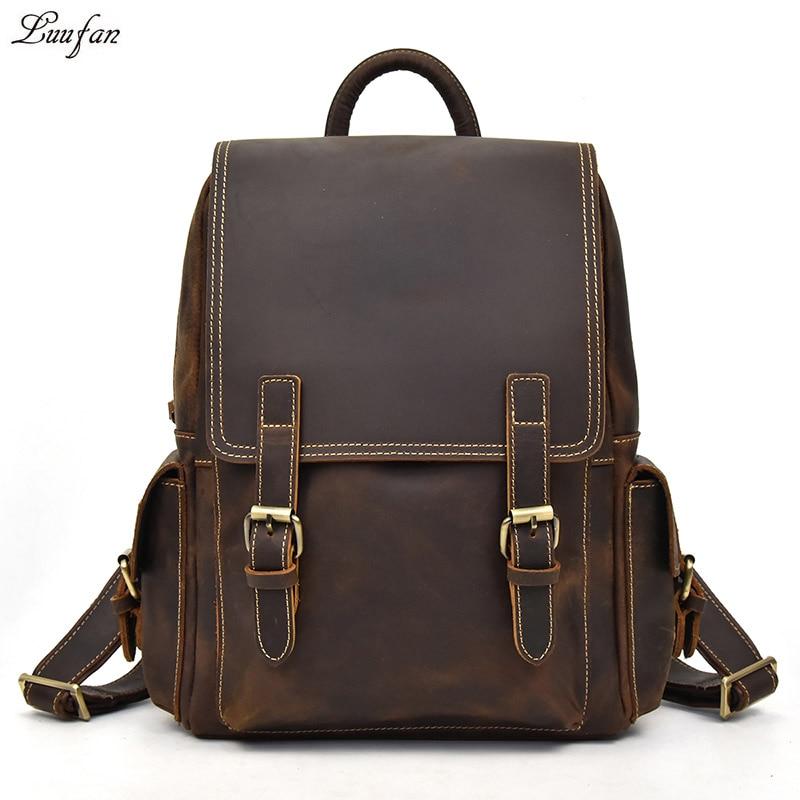 Big Capacity Men Crazy Horse Leather Backpack genuine cow leather 14 Laptop rucksack daypack school backpack