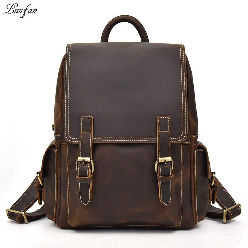 "Big Capacity Men Crazy Horse Leather Backpack Genuine Cow Leather 14"" Laptop Rucksack Daypack School Backpack Bags Male Mochila"