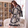 Plus Size Black Women's Summer Lounge Robe Lady New Sexy Home Dress Rayon Nightgown Large Loose Sleepwear Bathrobe Gown