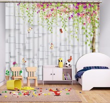 Custom Any Size 3D Curtain Depicting Tree Leaf Lattice Window Living Room Bathroom Shower Blackout